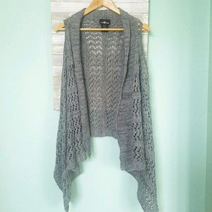 It's Our Time Gray Crochet Waterfall Cardigan LG